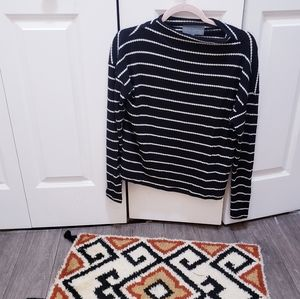 Anthropologie waffle striped long sleeve blouse